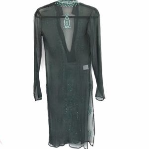 Miss Me Swim - Sweet Miss Me Green Sheer Silk Tunic Dress size S